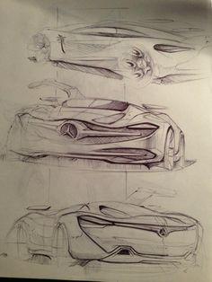 Mercedes - Sketchbook 2012 Dominik L. Car Design Sketch, Design Art, Industrial Design Sketch, Hand Sketch, Sketch Inspiration, Motorcycle Design, Car Drawings, Cool Sketches, Transportation Design