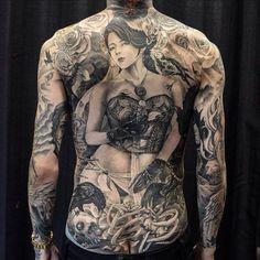 Portrait Back Flower Skull Tattoo   #Tattoo, #Tattooed, #Tattoos