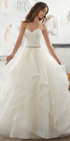 Wedding Dresses and Bridal Gowns by Morilee designed by Madeline Gardner. This Dreamy Organza Ballgown Features a Flounced Skirt with Horsehair Trim. Spring 2017 Wedding Dresses, Princess Style Wedding Dresses, Stunning Wedding Dresses, Cute Wedding Dress, Bridal Wedding Dresses, Dream Wedding Dresses, Wedding Dress Styles, Bridesmaid Dresses, Prom Dresses