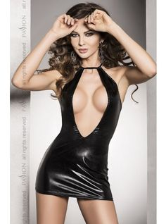 Passion Femi Black Mini Dress The Passion Femi Black is a raunchy wet leather look dress with halter neck and sexy open front. A very sexy mini dress.#sexylingerie