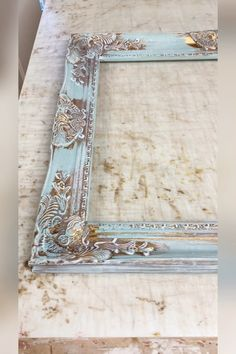 Our farmhouse mirror w/Dixie Belle Sea Spray Texture - We created our farmhouse mirror with Dixie Belle Paint's Sea Spray Texture added to our light aqua -