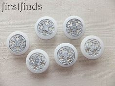 6 White Knobs Kitchen Cabinet Pulls Filigree by Firstfinds on Etsy