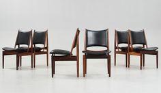 FINN JUHL, A set of six Finn Juhl 'Egyptian Chairs' in rosewood and black original upholstery, by Niels Vodder, Denmark