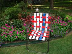 """Stars and Stripes Duct Tape Lawn Chair--great way to update a """"falling apart"""" chair!"""