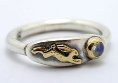 Nick Hubbard 'Magical Hare And Moonstone' Ring Silver and 9ct Gold