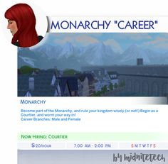 "midnitetech: "" 👑Monarchy ""Career""👑 This has been requested a few times, but was put on hold as I was awaiting permission to convert this career from an old one. However, I didn't hear back, so I just made my own! To 'pause' a level, if you don't. Sims 4 Body Mods, Sims 4 Game Mods, Sims Four, Sims 4 Mm, Sims 4 Jobs, Sims 4 Challenges, Sims 4 Traits, Game Tester Jobs, Play Sims 4"