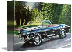 """""""Corvette classic summer"""" by JAMES LIMA: 1962 corvette acrylic on canvas original art painted by me, classic cars. // Buy prints, posters, canvas and framed wall art directly from thousands of independent working artists at Imagekind.com."""