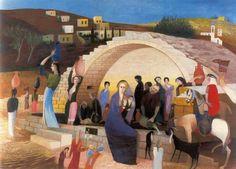 The Marienbrunnen in Nazareth - Tivadar Csontváry-Kosztka (Hungary, (Expressionism) Virtual Art, Post Impressionism, 3 Arts, Pretty Art, Stamp Collecting, Budapest, Art Boards, Art History, Photo Art