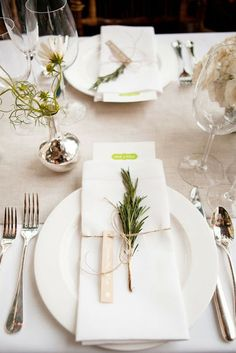 Love the individual bud vase and rosemary sprig for this place setting! (New York City Rooftop Wedding by KT Merry Photography Deco Champetre, Christmas Place, White Christmas, Xmas, Christmas Eve, Christmas Decor, Rooftop Wedding, Thanksgiving Table Settings, Table Settings