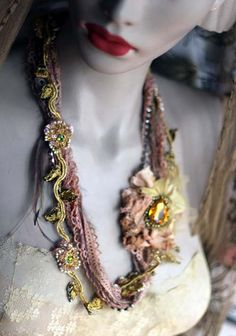 daffodil shabby chic soft braided necklace from by FleursBoheme