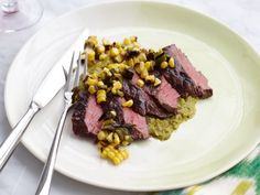 Grilled Skirt Steak with Poblano Corn Sauce and Salsa. For a speedy version use canned Ortega Fire Roasted Whole Green Mild Chiles and Del Monte Whole Kernel Fire Roasted Corn