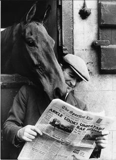 The best: No1 Arkle looking over the shoulder of head lad Paddy Murray reading the Sporting Life
