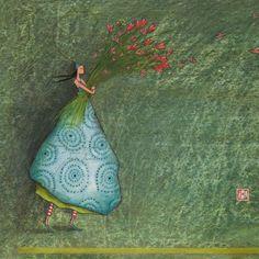 Appealing art card by Gaelle Boissonnard of France. Image: tall slender whimsical girl holding bouquet of hearts. Colours: girl in blue, background eton blue. Marie Cardouat, Art Fantaisiste, Art Carte, Creation Art, Art Et Illustration, Friendship Cards, Art Moderne, French Artists, Whimsical Art