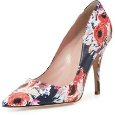 kate spade new york licorice floral pointed-toe pump (2,445 HKD) ❤ liked on Polyvore featuring shoes, pumps, heels, multi, floral pumps, kate spade pumps, leather pumps, pointed toe high heel pumps and leather pointy toe pumps