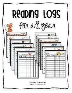 These reading logs give you all the information that you will need to see what your student is reading at home. I have created 12 themed reading l. First Grade Reading, Student Reading, Teaching Reading, Reading Activities, Educational Activities, Guided Reading, Too Cool For School, School Fun, School Stuff