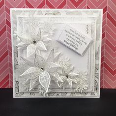 T t white pointsettias square Birthday Cards For Women, Handmade Birthday Cards, Christmas Cards To Make, Xmas Cards, Chloes Creative Cards, Stamps By Chloe, Shaped Cards, Embossed Cards, Scrapbook Cards