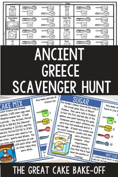 The Ancient Greece Scavenger Hunt Challenge allows students to move around the classroom while reading passages and answering questions. The activity is structured as a cake bake-off where students determine the missing ingredients of a recipe. Great ancient history activity for upper elementary or middle school. #AncientGreece #ThinkTank #AncientHistory #HomeSchool #ScavengerHnt #4thgrade #5thgrade #6thgrade #Interactive #MiddleSchool #UpperElementary 6th Grade Ela, 5th Grade Reading, Seventh Grade, Sixth Grade, Ancient Egypt Activities, History Activities, Reading Comprehension Activities, Reading Passages, Women In History