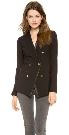 DKNY Collarless Jacket with Leather Trim Review Buy Now