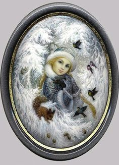 Russian lacquer miniature from the village of Fedoskino. Pretty Snegurochka (a kind of Snow Maiden) with a hedgehog, a squirrel and some birds.