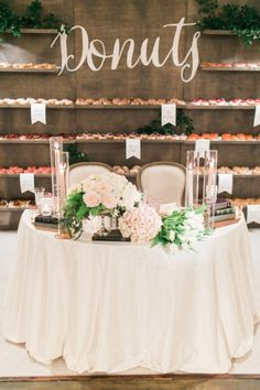 A sweetheart table and a donut bar?! Yes, please! http://www.stylemepretty.com/vault/search/images/sweetheart%20tables
