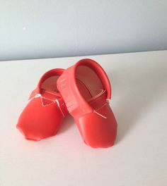 Baby Moccasins - Bright Orange or Bright Yellow, made to order on Etsy, $19.00