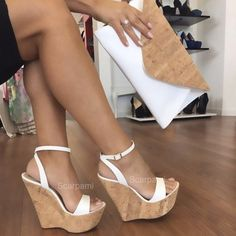 Cork wedge Scarpami Tiffany White