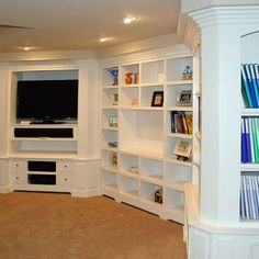 unit in finished basement - a wall of built-ins
