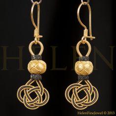Hurrem Sultan Earrings Turkish Kazaziye Gold Over & Oxidized 925 Sterling Silver