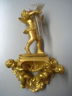 Gold Cherub Angels pedestal Art home office prosperity $59.95 Free Shipping.  Island Heat Products http://www.islandheat.com Home goods clothing and Great Family Gift Idea's.
