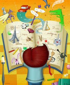 Pinzellades al món: lectura I Love Books, My Books, Library Themes, Book People, Book Week, Book Images, Children's Book Illustration, Whimsical Art, Cute Drawings