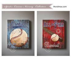 Baseball New York Yankees Sports Art ,  Baseball Nursery Decor,  Baby Boys Room  Sports Art Print 12x16 Baseball Art,