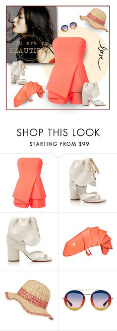 """""""Coral Light"""" by michelletheaflack ❤ liked on Polyvore featuring DUO, Jay Godfrey, Maison Margiela, LARISSA HADJIO, Frontgate, Gucci, strapless and styleinsider"""
