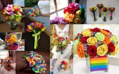 Rainbow Wedding Bouquets