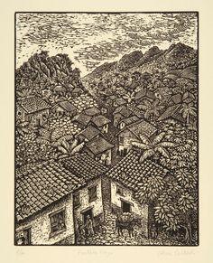 "Pueblito, woodcut print, 1987 (printed area: 15"" x 11"") Gloria Calderon-Saenz"
