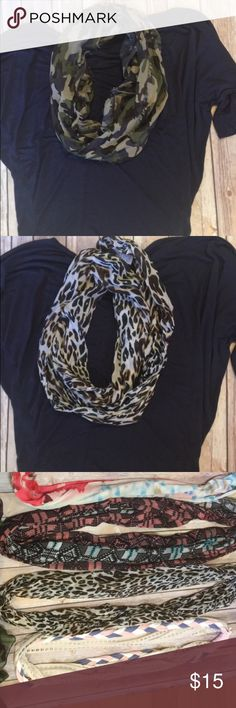 Bundle of 2 infinity scarves! Leopard and camo 2 super cute light weight infiry scarves Accessories Scarves & Wraps