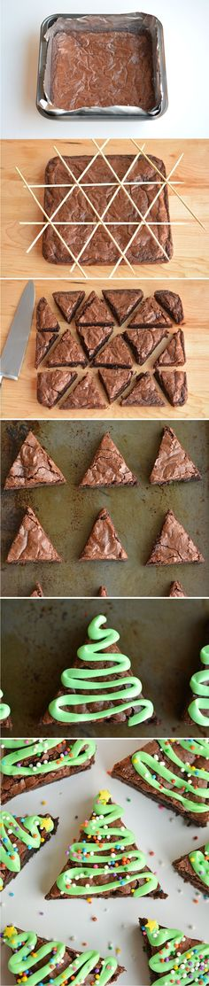 Easy Christmas Tree Brownies - brownies, chocolate, christmas, dessert, recipes