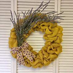 Yellow and Purple Spring Wreath, Burlap Wreath, Lavender Flower Wreath for Spring