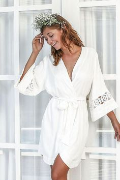 d5987a51c9 bride wearing simple ivory lace robe -plus a curated collection of all styles  of robes