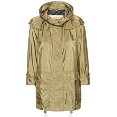 Burberry Brit Maidleigh Rain Coat ($710) ❤ liked on Polyvore featuring outerwear, coats, green, rain coat, burberry, brown coat, burberry raincoat and burberry coat