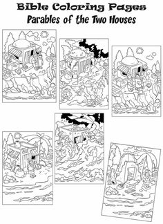 Resultado de imagem para wise man built his house upon the rock crafts Bible Story Crafts, Bible School Crafts, Sunday School Crafts, Bible Stories, Bible Parables, Children's Church Crafts, New Testament Bible, Bible Coloring Pages, Coloring Sheets