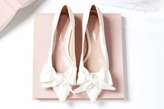 Where to find flat bridal shoes for your wedding day | One Fab Day Satin Wedding Shoes, Designer Wedding Shoes, Wedding Flats, Satin Shoes, Cold Wedding, Perfect Wedding, Bridal Flats, Block Heel Shoes, Zapatos