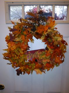 Wreath full of fall leaves