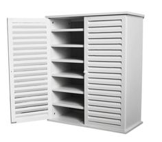 Wooden Shoe Storage Cabinet   21 Spaces