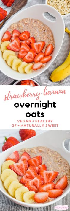 Vegan strawberry banana overnight oats are sweet, satisfying, and full of the dreamy combo of strawberry and banana flavor! This healthy breakfast is made with just 6 ingredients. #oats #overnightoats #veganoats #veganovernightoats #strawberrybananaovernightoats #healthybreakfast #healthyveganbreakfast #easybreakfast #veganbreakfast Strawberry Overnight Oats, Vegan Overnight Oats, Strawberry Banana, Vegan Oatmeal, Dairy Free Recipes, Vegan Recipes, Diet Recipes, Traditional Easter Desserts, Healthy Vegan Breakfast