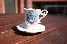Cup with saucer medium - decorated cup and saucer set. Forget Me Not, Cup And Saucer Set, Espresso, Medium, Tableware, Espresso Coffee, Dinnerware, Tablewares, Dishes