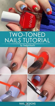 Nail Designs nail designs for fall nail designs for summer g New Years Nail Designs, Red Nail Designs, Winter Nail Designs, Christmas Nail Designs, Simple Nail Designs, Summer Gel Nails, Fall Nails, Two Tone Nails, Nail Art Design Gallery