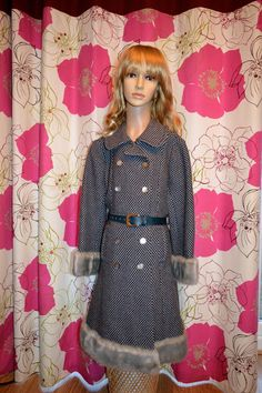 Stunning Vintage heavy weight coat with mother by ClaireLouVintage