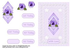 Pansy Lace Ages Card Front on Craftsuprint - Add To Basket!
