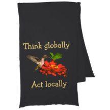 Hummingbird  on Think Globally Act Locally Scarf