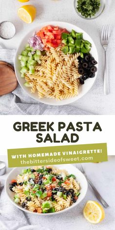 Easy Greek Pasta Salad served cold with a homemade vinaigrette. With fresh vegetables topped with feta cheese!   The Bitter Side of Sweet Great Salad Recipes, Best Pasta Recipes, Side Recipes, Amazing Recipes, Lunch Recipes, Easy Dinner Recipes, Delicious Recipes, Easy Recipes, Yummy Food